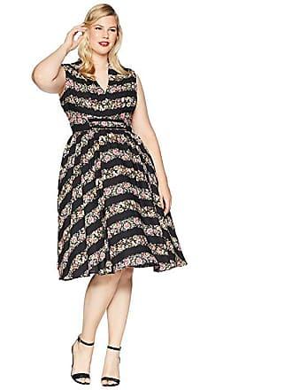 29118288686 Unique Vintage Plus Size De Carlo Swing Dress (Black Floral) Womens Dress