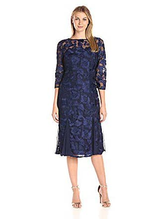 2fc6abb77a Alex Evenings Womens Tea Length Embroidered Dress with Illusion Sleeves