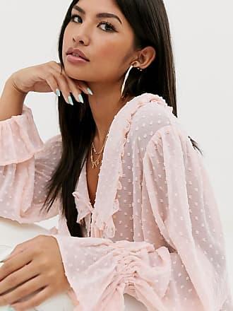 Asos Langärmlige getupfte Bluse mit Bindedetail vorn-Keine Farbe