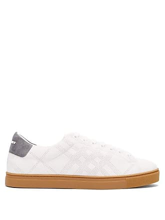 Burberry Albert Perforated Low Top Suede Trainers - Mens - White 4d5b7e708