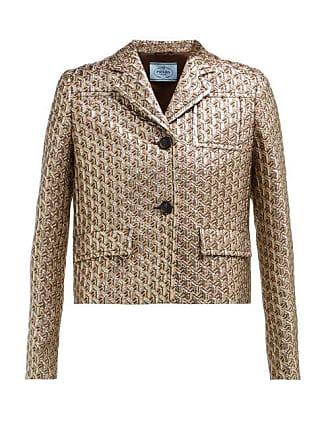 ddc1314c7f Prada Cropped Single Breasted Geometric Brocade Jacket - Womens - Silver  Multi