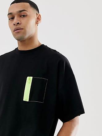 Asos Svart t-shirt i oversize-modell med kort ärm och neonficka med  dragkedja 430942e29e8f8