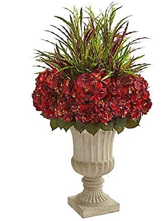 Nearly Natural 8394 43-in. Hydrangea and Grass Artificial Stone Urn Silk Plants Red