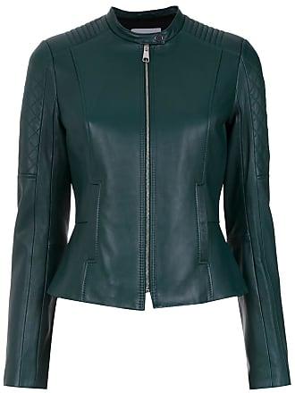 HUGO BOSS Jaqueta de couro com recortes - Verde
