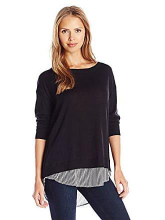 Joan Vass Womens Sweater with Silk Insert, Black 2