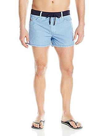 dcfde17a1f Diesel Mens Wayeeki Printed Palm Short 12inch Swim Trunk, Denim Blue, Medium