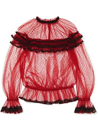Dolce & Gabbana Ruffled Lace-trimmed Point Desprit Tulle Blouse - Red