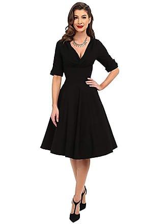 Unique Vintage 3/4 Sleeve Delores Swing Dress (Black) Womens Dress