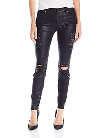 7 For All Mankind Womens Tall-Size Ankle Skinny with Released Hem and Destroy Jean, Coated Black, 24