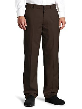 Haggar Mens Flex Gabardine Solid Plain Front Pant,Brown,40/29