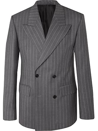 6e2d882a Versace Grey Oversized Double-breasted Pinstriped Wool Suit Jacket - Gray