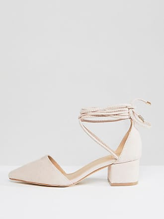 4665847f0b2 Raid RAID Wide Fit Lucky Ankle Tie Mid Block Heeled Shoes - Beige