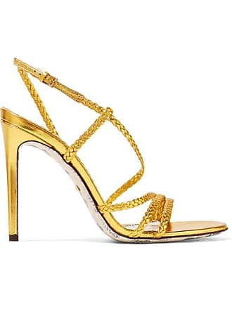 60646a6e45be Gucci Braided Metallic Leather Slingback Sandals - Gold