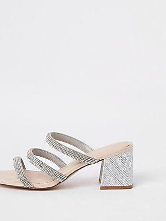 a29045c0a03f River Island Womens Silver diamante embellished block heel mules