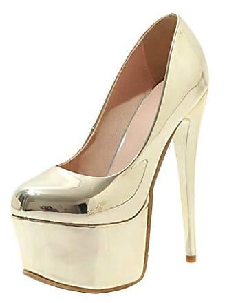 dc7bfdb7c55d5f Aiyoumei Damen Abendschuhe High Heels Stilettos Extreme Lack Plateau Pumps  16 cm Absatz Party Hochzeit Schuhe