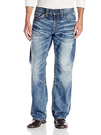 Silver Jeans Co Mens Zac Relaxed Fit straight leg jeans Jeans, Light Indigo, 34Wx 30L