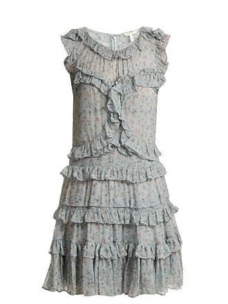 Rebecca Taylor Floral Print Ruffle Trimmed Silk Chiffon Dress - Womens - Green Print