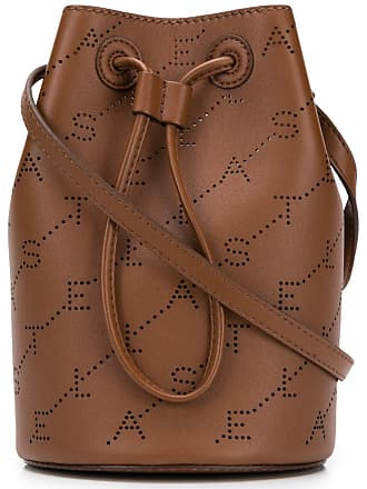 Stella McCartney logo perforated mini bucket bag - Brown