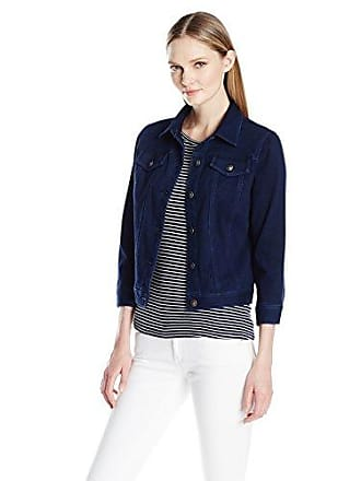 Ruby Rd. Womens Button-Front Indigo-Dyed Stretch Knitted Twill Jacket, 12