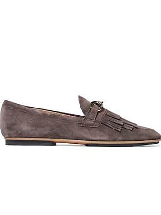 34e7d4dd6da Tod s Tods Woman Chain-trimmed Fringed Suede Loafers Chocolate Size 41