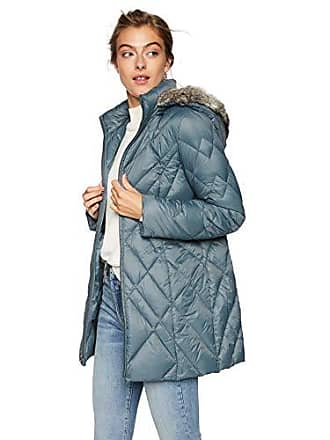 21d559ab7 Jones New York Womens Down Coat with Cozy-Trimmed Hood, Iron Blue, XL