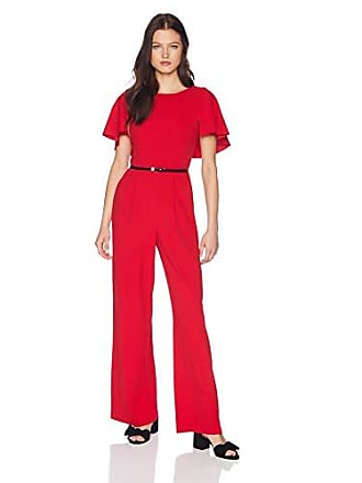 Calvin Klein Womens Belted Jumpsuit with Caplet Sleeve, red, 10