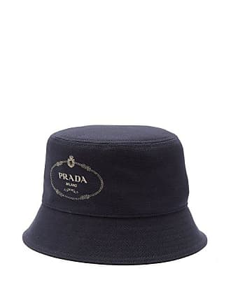 e8c10114f482e Prada Logo Print Cotton Canvas Bucket Hat - Mens - Navy