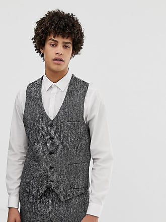 Noak slim fit harris tweed suit vest in gray - Gray