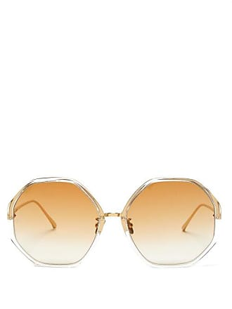 Linda Farrow Oversized Hexagonal Frame Sunglasses - Womens - Dark Orange