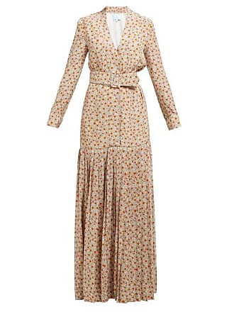 Rebecca de Ravenel Rebecca De Ravenel - Daisy Print Belted Pleated Silk Dress - Womens - Beige Multi