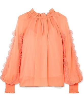 See By Chloé Shirred Appliquéd Chiffon Blouse - Orange
