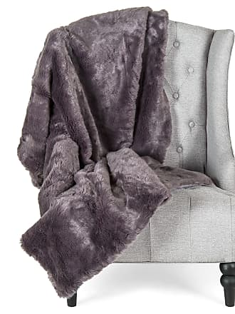 Best Choice Products 47x60in Soft Warm Faux Fur Throw Lounge Blanket - Gray