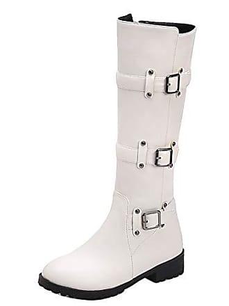 9a4e21c01e Aiyoumei Damen Flache Kniehohe Stiefel mit Schnallen und Nieten  Winterstiefel Langschaft Weiß 38 EU