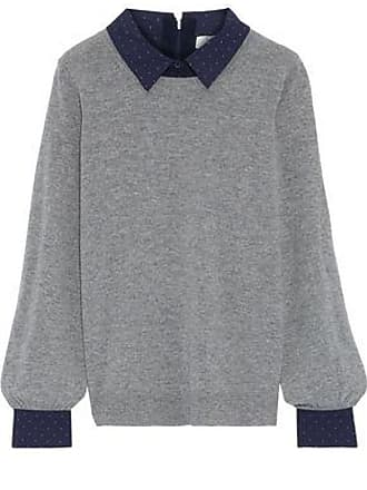 717dab5336 Joie Joie Woman Polka-dot Poplin-trimmed Wool And Cashmere-blend Sweater  Gray