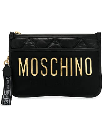 Moschino quilted logo clutch - Black