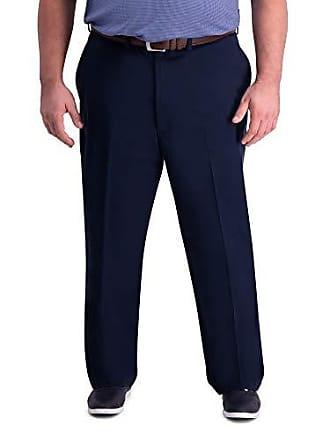 Haggar Mens Big and Tall B&T Premium Comfort Khaki Flat Front Classic Fit Pant, Dark Navy, 60Wx32L