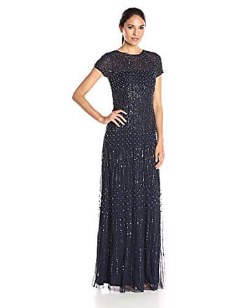 Adrianna Papell Womens Short-Sleeve Fully Beaded Gown, Navy, 4