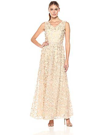 Ellen Tracy Womens Soutache V Neck Cocktail Gown, Champagne, 10
