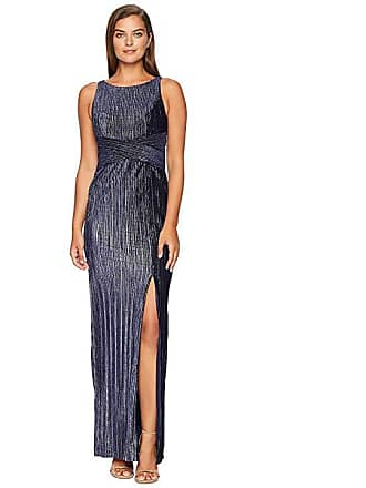 d1306b252ca Adrianna Papell Pleat Velvet Column Dress (Navy) Womens Dress