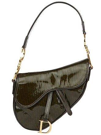 Dior 2000 Christian Dior Olive Green Monogram Patent Leather Mini Saddle Bag 1f3602548f859
