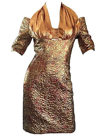 e61f505ad9 1stdibs Sexy 1990s Bronze + Gold + Rose Gold Silk Brocade Vintage Halter  Bod Con Dress