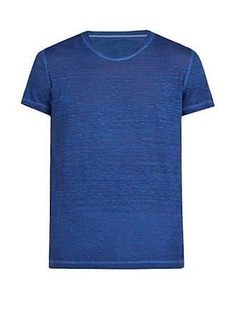 120% Lino Crew Neck Linen Jersey T Shirt - Mens - Blue