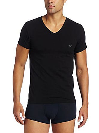 Emporio Armani Mens Stretch Cotton V-Neck T-Shirt, Black, Small