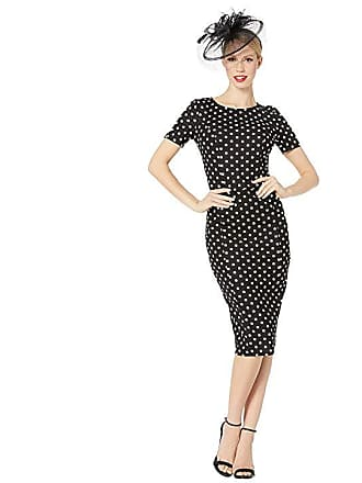7150ce1b4d39 Unique Vintage 1960s Stretch Mod Wiggle Dress (Black White Dotted) Womens  Dress