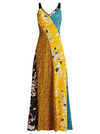 Diane Von Fürstenberg Calloway Floral Paisley Print Silk Maxi Dress - Womens - Yellow Multi