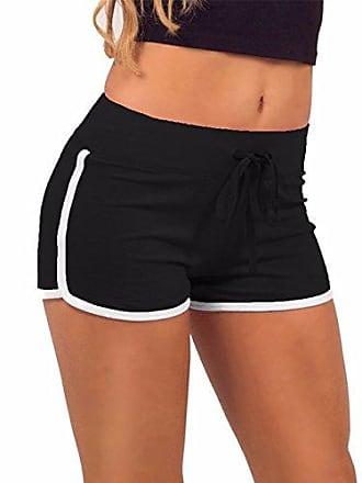 19e9820aeaa384 Emma Damen Sport Shorts Yoga Gym Kurz Hose Elastisch Boy Retro Shorts  Training Fitness Baumwolle Elastisch