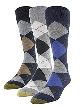 a09016d69da2 Gold Toe Mens Carlyle Argyle Crew Socks, 3 Pairs, Navy/Grey, Shoe
