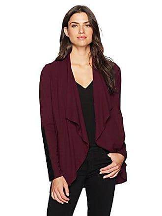 Karen Kane Womens Faux Leather Detail Jacket, Wine S