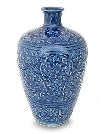 Novica 178289 Azure Lace Celadon Ceramic Vase
