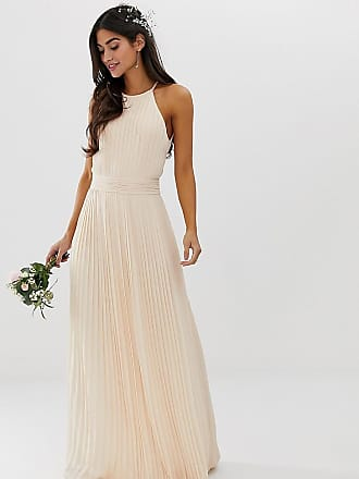 791e08f6 Tfnc Petite bridesmaid exclusive high neck pleated maxi dress in pearl pink